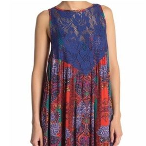 Free People Blue & Red Floral Mini Dress